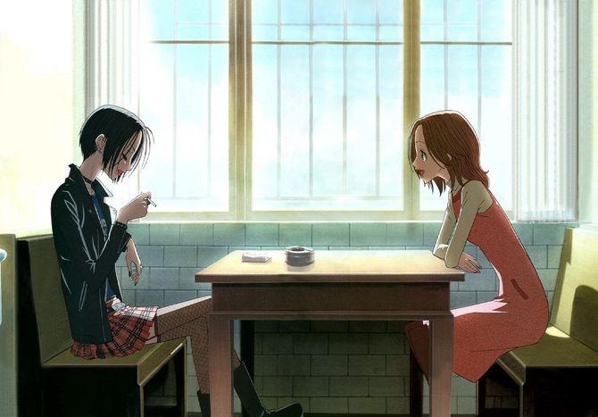 nana and hachi talking in flat